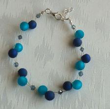 Perlen Armband Modeschmuck Polaris dunkelblau petrol NEU