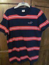 mens hollister blue/orange stripe cotton t shirt  42 chest