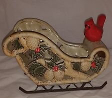 Ceramic and Metal Sleigh Centerpiece Bowl