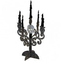 2 x Halloween Party Candelabra Paper Gothic Skull Table Centrepiece Decoration