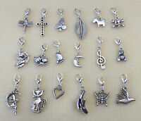 GORGEOUS TIBETAN SILVER CHARMS ON SILVER PLATED LOBSTER CLASP - VARIOUS DESIGNS