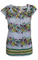 Ex Dorothy Perkins Cream Yellow Green Floral Cap Sleeve Summer Top Size  8 -20