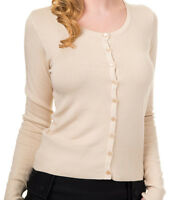 Super Soft Plain Cardigan by Banned button Top Rockabilly 8 10 12 14 Ivory Cream