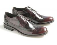 Ikon Mens York Bordon Oxblood Leather 4 Eyelet Lace Up Hi Shine Brogues Shoes