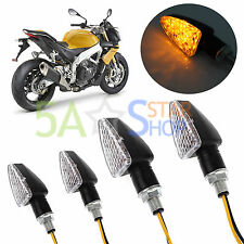 4X UNIVERSAL MOTORCYCLE BIKE BLACK LED TURN SIGNAL BLINKER LIGHT INDICATOR AMBER