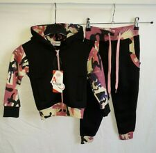 A2Z 4-Kids Girls Camouflage Black Tracksuit Co Ord Set 2-3 Years
