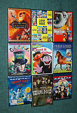 Childrens DVD Lot Assorted Movies and Films Nine (9) Videos For Kids Animation