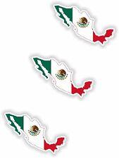 "Mexico 3x Small Map flag Stickers (1.2"")Bumper Helmet Phone Fridge Bike"