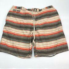 St. John's Bay Swim Trunks Mens 2XL XXL Orange Brown Lace Tie Striped Mesh Lined