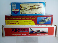 Aircraft Kits Scale 1:72 ~  Collection A  ~ 50's, 60's & 70's ~ 3 Rare Kits