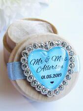 Cœur bleu personnalisé en bois Anneau Mariage Boîte Personnalisé NOM & DATE cristaux