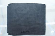 New Lanvin Mens Wallet Credit Card Case Black Bi-Fold Money Holder Leather