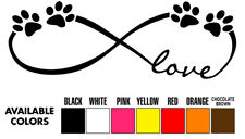 LOVE INFINITY CUTE PET PAWS Vinyl Car Decal Sticker dog cat 4 paws