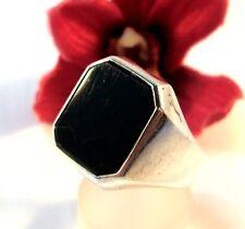 alter Siegelring 835 Silber mit schwarzem Stein Fingerring Herrenring / bo 219