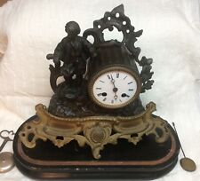 Antique French Mantel Clock Medailles D'Argent Japy Fills Movement Wooden Base