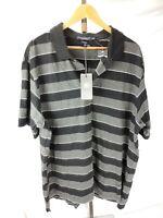 Daniel Cremieux XXL 2XL Men's Collection Striped Polo SS Shirt NWT Black Gray