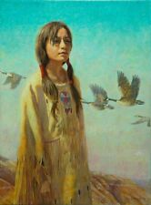 "Western realism ""Sacajawea"" 12"" x 16"" limited edition print by Texan LEE CASBEER"