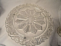Crystal Snowflake Gllass Cake Plate 11 1/4  inches wide