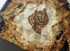 "Vintage Boch Moroc Tiger 40"" Square Scarf, Gold and Black,  Made  in Korea"