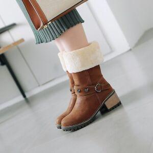 Womens Retro Winter Fur Lined Rivet Round Toe Block Mid Heels Warm Fashion Boots