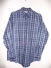 Turnbury Blue 100% Cotton Button Front Long Sleeve Men's Shirt-L