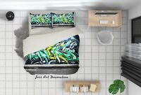 3D Green Street Graffiti Quilt Cover Set Pillowcases Duvet Cover 3pcs Bedding