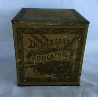 Old Advertising Tin Can Box DR. JOHNSON'S EDUCATOR CRACKERS Boston Massachusetts