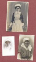 "3 Female Nurses RPs, 1 by Blakeys, Morecambe, + ""Maude"", and  ""E.Snoddon""   QT82"