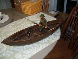 Folk Art Large Wooden Boat with man fishing with his dog 29 x 8 x 4