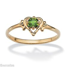 WOMENS 14K GOLD GP BIRTHSTONE PERIDOT HEART SHAPE RING SIZE  5 6 7 8 9 10