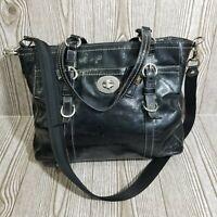 Coach Chelsea Black Patent Leather Convertible Tote Satchel Purse Bag