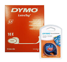 Dymo Letratag Tape 12mm Plastic Red (BOX OF 10) 91203 / S0721630
