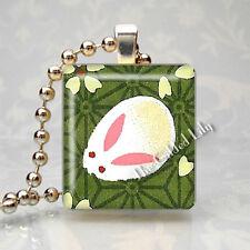 Bunny Rabbit KAWAII Cute Scrabble Tile Altered Art Pendant Jewelry Charm