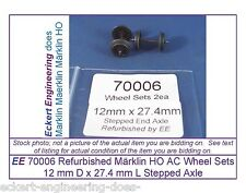 EE 70006 Used Märklin HO AC Wheel Sets 700060 Stepped End Axle Pk2 D12/L27.4mm
