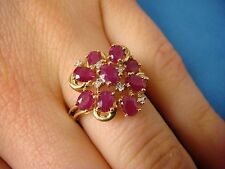 14K YELLOW GOLD LADIES RUBY AND DIAMOND CLUSTER RING, 3.7 GRAMS, SIZE 8