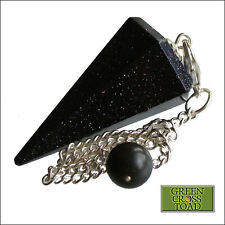 Blue Goldstone Point Dowsing Pendulum Crystal Dowser Connects to the Divine