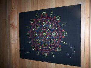 "Perception Mandala - Howard Bernstein -Cocorico Blacklight Poster 23"" x 30"" 1971"