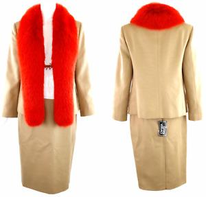 Vintage Gianni Versace Red Fur Collared Wool Jacket & Skirt Suit IT 42 (c.1999)