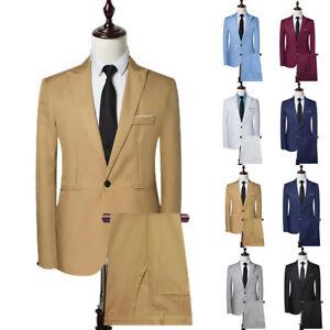 2 Pieces Suit Mens Formal Blazer Jacket & Trousers Set Wedding Business Outfits