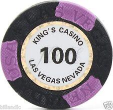 13.6 gram Matte King's Casino poker chip roll of 25 - Black 100
