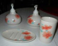 Hand Soap, Lotion Pump Dispensers, Soap Dish & Cup Salmon & Cream Color Flowers