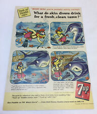 1958 7-Up cartoon ad page ~ SCUBA DIVER, THIRSTY AS A FISH Fresh up Freddie