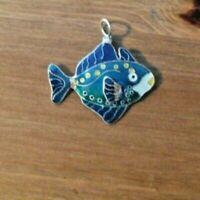 vintage silver enamel fish charm