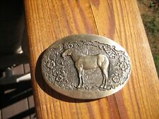 Vintage Horse Belt Buckle SOLID BRASS Country Western Cowboy