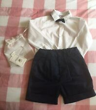 Kidiwi  Boys 3-4 Years Smart Outfit, Shorts, Bow Tie, Shirt, Christening RRP £88