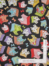 Loralie Joy Dog Puppy House Bone Toss Black Cotton Fabric Loralie By The Yard
