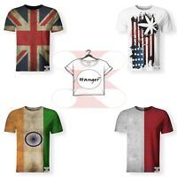 New Countries Symbol Flags USA UK India Indonesia T-Shirt Unisex 3D Print S-7XL