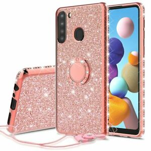 TPU Cover for Samsung Galaxy A21 Glitter Diamond Bling Ring Stand Phone Case