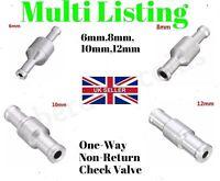 6-12mm Inline One-way Non-return Check Valve Fuel/Water/Gas/Air/Vacuum Aluminum