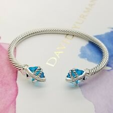David Yurman Sterling Silver 4'mm Cable Wrap 10'mm Blue Topaz & Diamond Bracelet